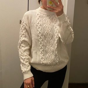 URBAN OUTFITTERS CABLE KNIT CREAM SWEATER